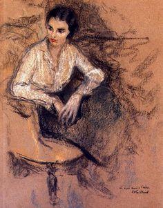Edouard VUILLARD ( 1868 - 1940 )  Irène Montanet assise dans l'atelier du peintre