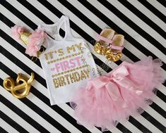 Pink and Gold It's My First Birthday Outfit With Pink Tutu Skirt