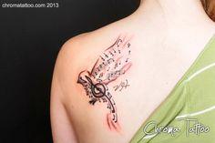 Bird w/ Music Notes, by Tom Salwoski of Chroma Tattoo, Michigan