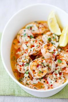 Roasted Shrimp Scampi - the easiest and BEST roasted shrimp scampi ever. 5 mins to prep, 5 mins in the oven and dinner is ready | rasamalaysia.com