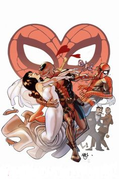 Deadpool, with Mary Jane and Spider-Man