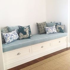 New updated entry way bench seat and a couple of new custom cushions mixed in with our client's beautiful original cushion collection.… Hallway Seating, Hallway Bench, Hallway Storage, Diy Storage Bench, Stair Storage, White Bench Entryway, Window Benches, Window Seats, Living Room Bench