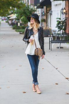 jeans, white lace peplum shirt, black leather jacket, black felt hat, nude lace up flats, brown leather cross body bag