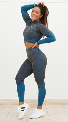 Amplify your attitude like Hanna in the Black Marl/ Deep Teal Amplify set! - Amplify your attitude like Hanna in the Black Marl/ Deep Teal Amplify set! Source by saerdnairca - Cute Workout Outfits, Workout Attire, Workout Wear, Fitness Gym, Sport Fitness, Fitness Models, Woman Fitness, Summer Fitness, Foto Sport