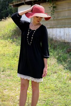Swan Dive Black Knit Baby Doll Dress With Crochet Lace Trim & Quarter Length Sleeves