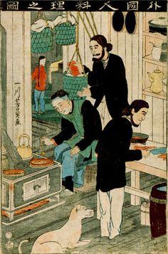 外國人料理の圖 絵 師:歌川芳員 刊行年:万延元年(1860) オーヴン風のかまど、調理台、水差し等が見える。