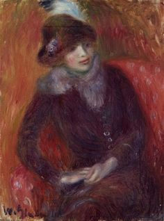 William James Glackens - Seated Woman with Fur Neckpiece and Red Background