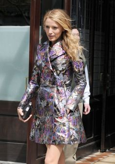 Blake Lively with Valentino Printed Coat http://bit.ly/1iupN9e
