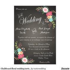 "Chalkboard floral wedding invitations 5"" x 7"" invitation card"