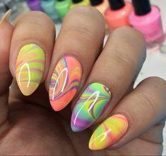 Water nail art: how to do water marble nail art ladylife Marble Nail Designs, Colorful Nail Designs, Nail Art Designs, 3d Nail Art, Art 3d, 3d Nails, Water Marble Nail Art, Water Art, Water Nails