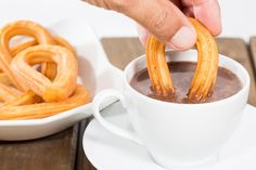 Typical Spanish dessert with chocolate with churros