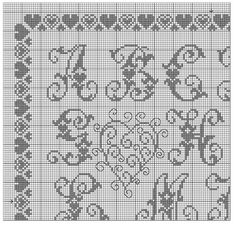 GRAFICOS PUNTO DE CRUZ GRATIS : ABECEDARIOS(56) Cross Stitch Embroidery, Embroidery Patterns, Stitch Patterns, Cross Stitch Letters, Cross Stitch Flowers, Crochet Alphabet, Filet Crochet, Shabby, Lettering