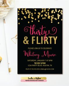 Thirty Flirty Birthday Invitation