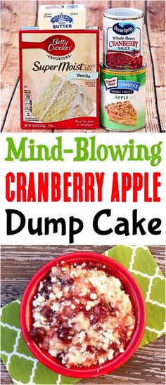 Cranberry Apple Dump Cake Recipe (Posts by DIY Thrill) Apple Crisp Recipe Easy! Thanksgiving desserts and food side dishes for your dinner table with cranberry is delicious! Tolle Desserts, Köstliche Desserts, Dessert Recipes, Dessert Bars, Apple Dump Cakes, Dump Cake Recipes, Apple Cake, Fall Recipes, Holiday Recipes