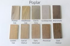 How 10 Different Stains Look on Different Pieces of Wood - Within the Grove Minwax Stain Colors, Varathane Stain, Wood Floor Stain Colors, Wood Colors, Varathane Wood Stain, Paint Colours, Best Wood Stain, Stain On Pine, Oak Stain