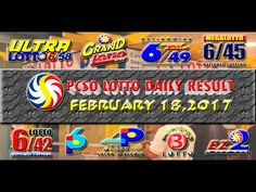 PCSO LOTTO RESULTS FEBRUARY 18, 2017 (EZ2, SWERTRES, 6D, 6/42 & 6/55) Lotto Results, Positive Affirmations, Pop Tarts, Work On Yourself, Snack Recipes, Youtube, February 8, Snack Mix Recipes, Appetizer Recipes