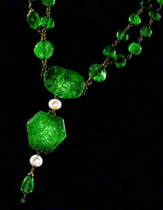 Engraved Emerald Necklace owned by the Maharaja of Nawanagar.