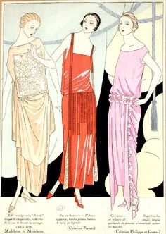 Fashion designs for evening dresses, 'Beaute' by the House of Madeleine & Madeleine, 'Feu de Bengale' by the House of Premet and 'Cyclamen' by the House of Philippe et Gaston, 1922 (colour litho)