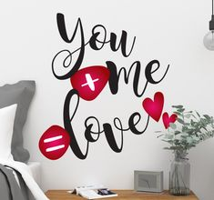 You+Me=Love. Show your love for your valentine with this cute #wallsticker from #Tenstickers ! #walldecor #interiordesign #decorideas #love #valentinesday