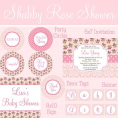 Shabby Pink Damask and Vintage Rose Baby Girl Shower Party Package