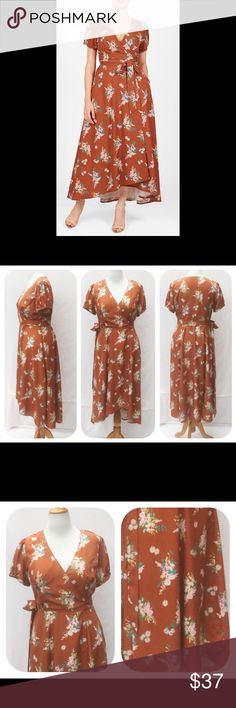 """New Eshakti Floral Fit & Flare Wrap Dress XL 16 New Eshakti rust floral print fit & flare crepe midi high low wrap dress. Size XL 16  Measured flat: Underarm to underarm: 40"""" Waist: 33""""+  Length: 42 & 49"""" Esakti size guide for XL 16 bust: 41 ½"""" Surplice neck w/ inverted bodice pleats, seamed waist. True wrap styling, tying at side waist, ruched sleeves, asymmetrical hem; midi front to dipping to maxi in the back. Lined in polyester moss crepe. Polyester, woven crepe, no stretch. Machine…"""