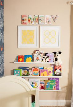 Nursery Name Art Ideas | projectnursery.com {Love these vintage storybook letters!}