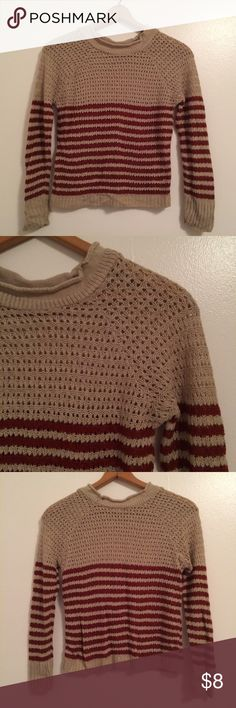 Deep Red and Tan sweater This sweater is breathable due to the crochet pattern. Sweet Kizz Sweaters Crew & Scoop Necks