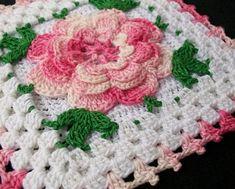 pink rose crochet potholder by maxine