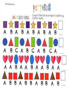 Classroom Freebies: Pattern Anchor Chart Posters - use with Form Pattern Worksheets For Kindergarten, Patterning Kindergarten, Kindergarten Anchor Charts, Math Anchor Charts, Free Math Worksheets, Shapes Worksheets, Printable Worksheets, Classroom Freebies, Math Classroom