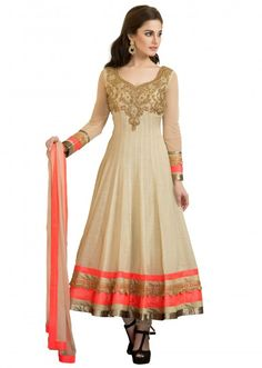 Cream anarkali suit featuring in silk with embroidered yoke only on Kalki