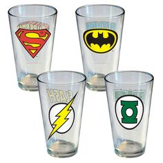 *I'm Batman*...or maybe The Flash. :)| DC Comics Insignia Pint 4Pc Set
