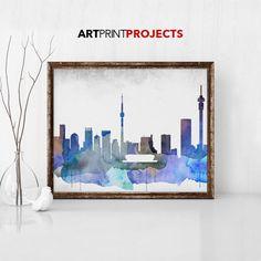 Johannesburg skyline art print watercolour by ArtPrintProjects