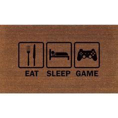Eat Sleep Game Video Game Door Mat Coir Doormat Rug 2 X 2 11 (24... ($38) ❤ liked on Polyvore featuring home, rugs, dark olive, floor & rugs, home & living, coco fiber mat, coconut fiber doormat, coconut fiber door mats, coir outdoor mats and coir doormat