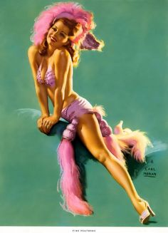 "Earl Moran - ""Fine Feathers"" - July Girls of 1952 Calendar from Brown &…"