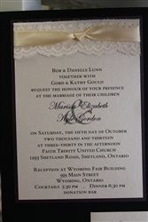 beautiful 2 layer vintage lace and metallic invitation from www.thepaperbride.ca