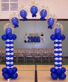 Double Stuffed Balloon Arch, 10 ft tall, with square packed side columns. Graduation Balloons, Birthday Balloons, Birthday Parties, Balloon Stands, Balloon Display, Ballon Arch, Balloon Columns, Ballon Decorations, Birthday Decorations
