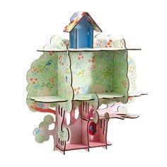 Une petite cabane dans l'arbre fleuri ! Voici une petite étagère en bois revisitée par Djeco pour exposer tous les petits trésors des enfants. Montage rapide et facile sans clou ni vis !