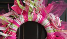 DIY : Ribbon Wreath Materials Needed: Styrofoam wreath, any size. (I used a small wreath so it would fit on my office door) Multiple patte...