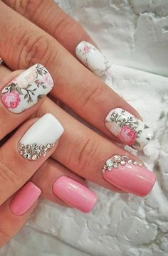 39+ trendy wedding nails for bride bling flower #nails #wedding