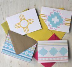 Santa Fe Summer - Set of 4 Blank Cards. via Etsy.