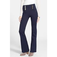 Junior Women's Fire 'Sailor' High Waist Flare Leg Jeans ($34) ❤ liked on Polyvore featuring jeans, blue, denim, pants, blue jeans, button-fly jeans, sailor jeans, high rise jeans and flare leg jeans