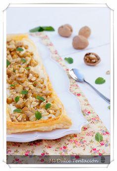 Hojaldre con manzana, gorgonzola y nueces