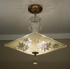 Large Antique 1940s Vintage American Art Deco MODERN YELLOW AZALEA Glass Ceiling Light Chandelier Rewired.via Etsy.