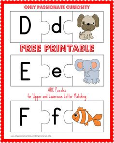 Printable ABC Puzzles Free printable ABC puzzles- upper and lowercase letter matching!Free printable ABC puzzles- upper and lowercase letter matching! Learning Letters, Alphabet Activities, Preschool Alphabet, Alphabet Crafts, Teaching Resources, Upper And Lowercase Letters, Lower Case Letters, Kindergarten Literacy, Alphabet
