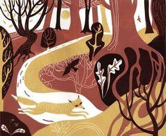 """Running Fox"" by Melvyn Evans (linocut)"