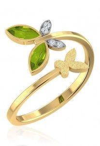 Buy Online Dual Butterfly Gold Ring For Women By CaratLane. Made from 18 karat gold, it is studded with peridot stone. Brings out the elegance of nature with the beauty of diamond.