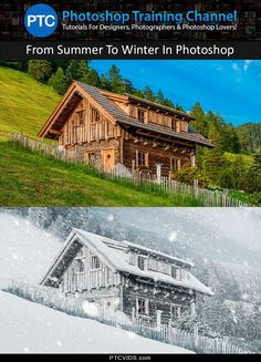 In this Photoshop video tutorial I will show you how you can transform a photo of a cabin in a hot summer day into a cold, and snowy day. Snow Photoshop, Photoshop Youtube, Photoshop Tutorial, Photoshop Actions, Lightroom, Adobe Photoshop, Photoshop Photography, Photography Tutorials, Photography Tips