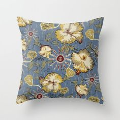 Floral art pillow hibiscus flower art gray home by NewCreatioNZ