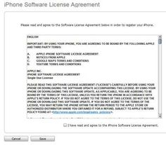 iTunes presents the iPhone software end-user license agreement; you have to accept it in order to use the software.