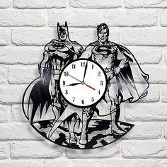 Batman & Superman design vinyl record wall clock home wall art shop home 12